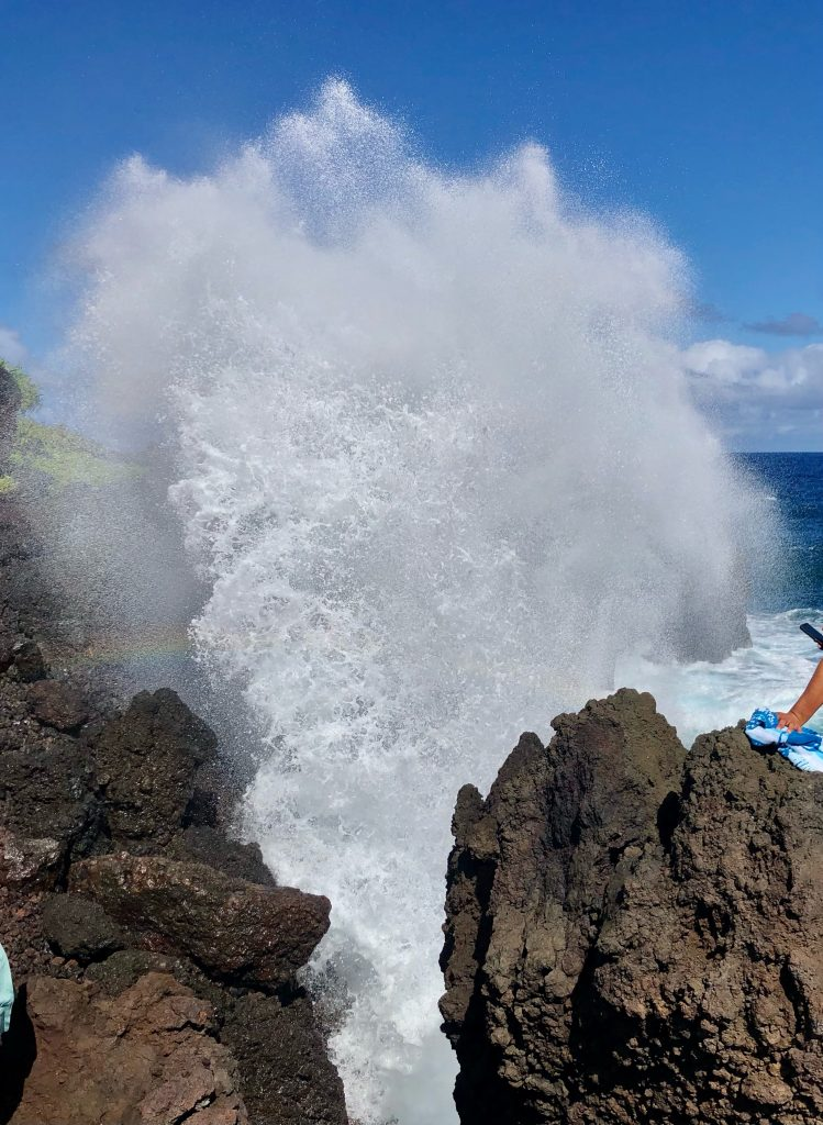 Blow hole at Black Sand Beach at mile marker 32 on Road to Hana
